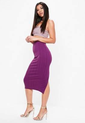 Missguided Purple Bandage Side Split Midi Skirt