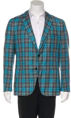 Isaia Wool & Linen Check Blazer