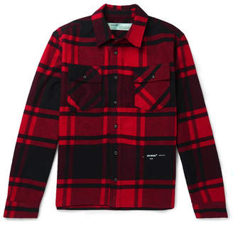 a4b8b3bec Off-White Off White Embellished Checked Cotton-Blend Flannel Shirt - Men -  Red