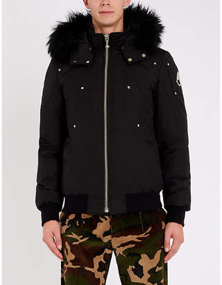 Moose Knuckles Shearling and down-blend hooded bomber jacket