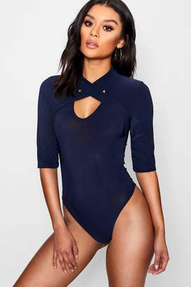 boohoo Wrap Detail High Neck Bodysuit