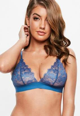 Missguided Navy Scallop Lace Thick Strap Triangle Bra