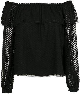 Nk Collection embroidered off the shoulder blouse