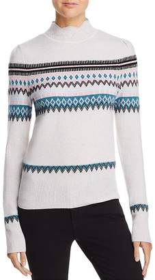 AQUA Cashmere Scalloped Fair Isle Cashmere Sweater - 100% Exclusive