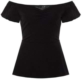 Quiz Black Puff Sleeve Ruched Peplum Top
