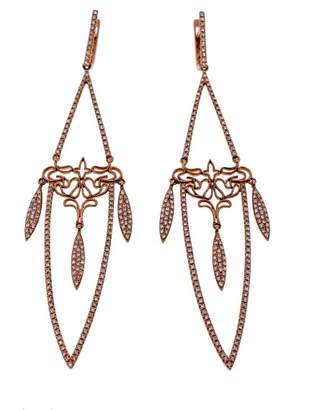 14K Rose Gold with 1.29ct Diamonds Long Dangle Earrings