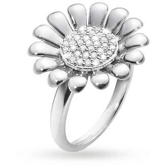 Georg Jensen Sunflower Sterling Silver and Diamond ring
