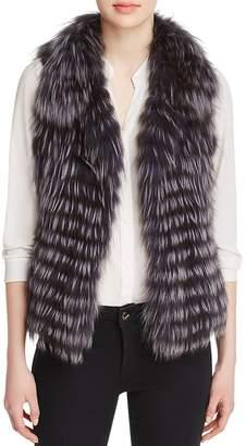 Maximilian Furs Thin Collar Nafa Fox Fur Vest