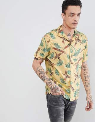 AllSaints short sleeve revere shirt with yellow bamboo print