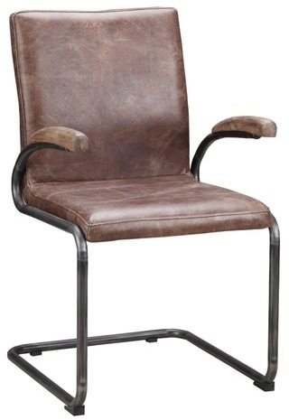Aurelle Home Distressed Leather Dining Chair (Set of 2)