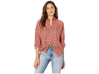 Angie Crochet Sleeve Flannel Top Women's Clothing