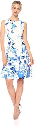 Gabby Skye Women's Floral Printed Pleated Fit and Flare Dress