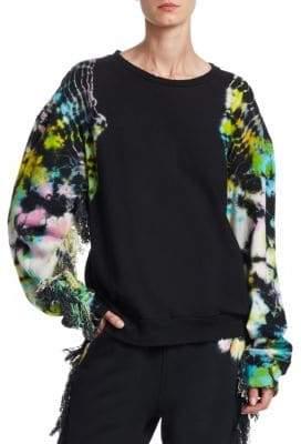 Alchemist Es Vedra Terry Tie Dye Distressed Fringe-Sleeve Sweatshirt