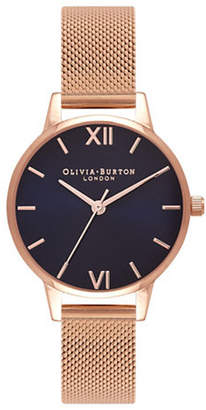 Olivia Burton Midi Dial Midnight and Rose Goldtone Analog Watch