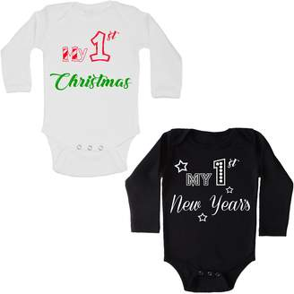 Piply First Christmas + First New Years Baby Onesie SET | Long Sleeve Onesies PRIME