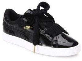 PUMA Basket Heart Faux Patent Leather Sneakers $85 thestylecure.com