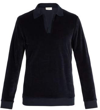 éditions M.r - James Terry Towelling Long Sleeved Polo Shirt - Mens - Navy