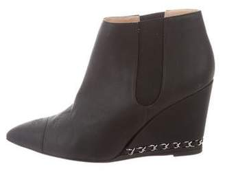 Chanel Chain-Trimmed Wedge Ankle Boots