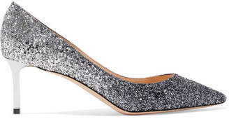 Jimmy Choo Romy 60 Dégradé Glittered Leather Pumps - Silver