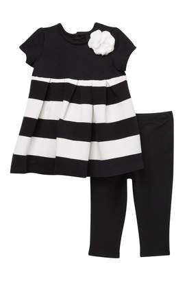 Little Me Stripe Dress & Leggings Set (Baby Girls)