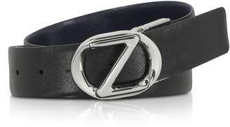 Ermenegildo Zegna Black Crossgrain Leather Adjustable Belt