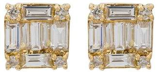 Shay square stacked baguette stud earrings