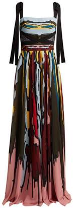 Elie Saab Abstract Print Crepe Gown - Womens - Multi