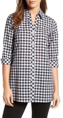 Women's Foxcroft Gingham Cotton Tunic Shirt $79 thestylecure.com