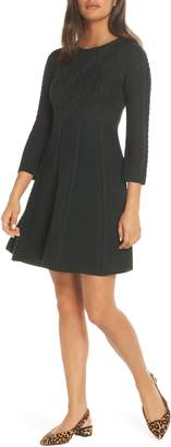 Eliza J Cable Fit & Flare Sweater Dress