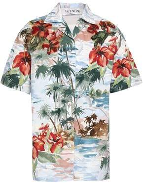 Valentino Floral-appliqued Printed Cotton-poplin Shirt