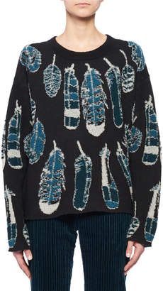 Altuzarra Crewneck Long-Sleeve Feather-Intarsia Cashmere Sweater
