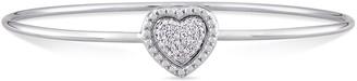 Stella Grace Sterling Silver 1/8 Carat T.W. Diamond Heart Halo Bangle Bracelet