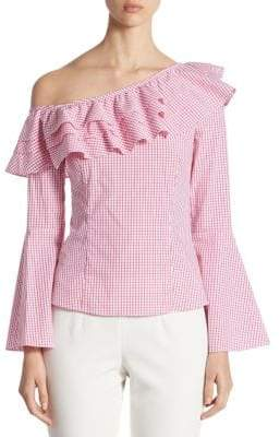Crosley Ruffled Gingham One-Shoulder Bell-Sleeve Top