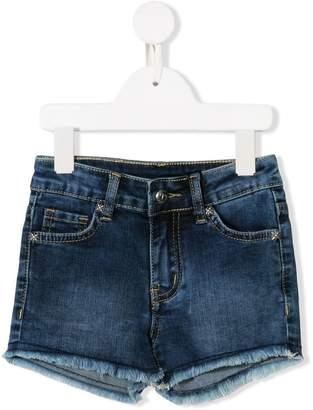 John Richmond Junior Rich print frayed denim shorts