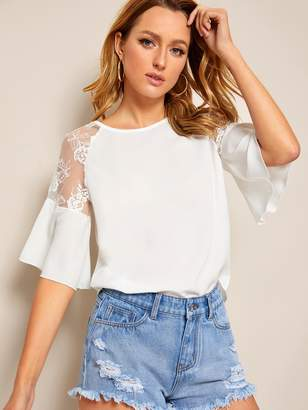 Shein Contrast Lace Flounce Sleeve Blouse