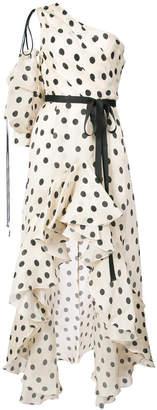 Johanna Ortiz polka-dot flared frill dress