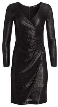 Emporio Armani Gathered Lurex A-Line Dress