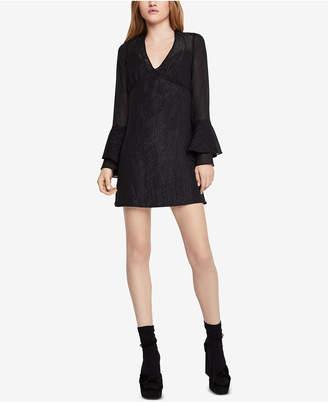 BCBGeneration Metallic Ruffle-Sleeve A-Line Dress