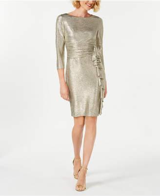 Jessica Howard Metallic Ruffle-Front Sheath Dress
