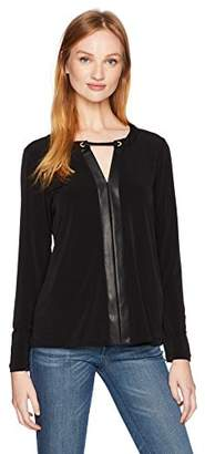 Calvin Klein Women's 3/4 Sleeve Top with Pu Placket