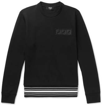Fendi Logo-Appliquéd Striped Cotton-Blend Jersey Sweatshirt