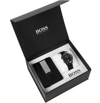 HUGO BOSS Watch Card Holder Gift Set Black