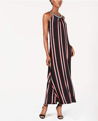 Calvin Klein Striped Halter Maxi Dress