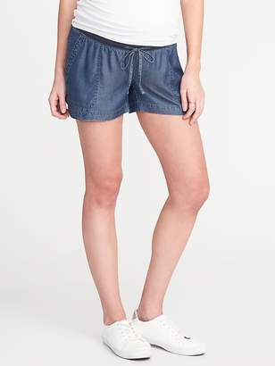 "Old Navy Maternity Rollover-Waist Indigo Soft Shorts (4"")"