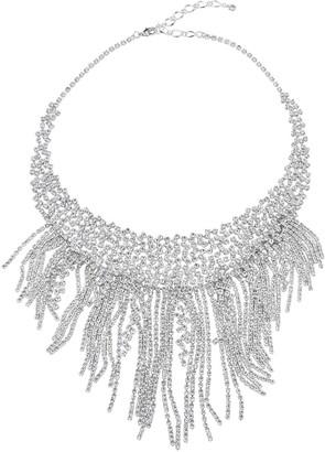 Unbranded Simulated Crystal Fringe Bib Statement Necklace