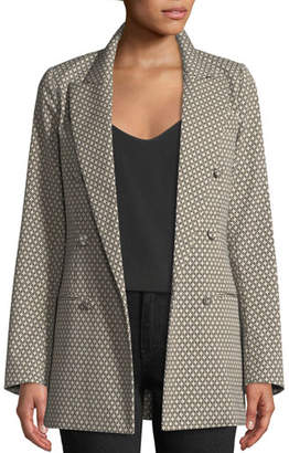 Co Double-Breasted Diamond-Jacquard Blazer