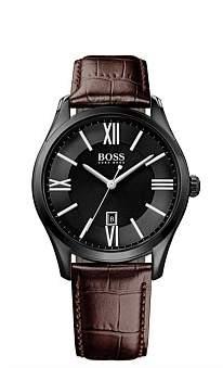 Boss Black Hugo Hb Blk Ip Rnd Case Blk Dial Brn Leather Strap