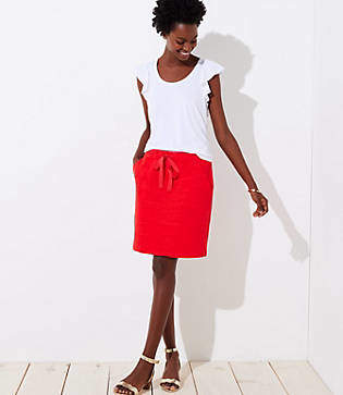 LOFT Tall Textured Pocket Drawstring Skirt