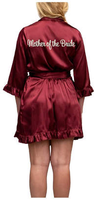 Wedding Prep Gals Plus Size Embroidered 'Mother of the Bride' Ruffled Robe, Online Only
