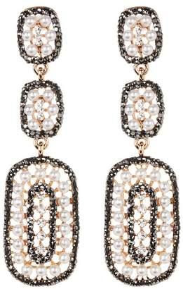 Avah and Ella Triple Drop Square Faux Pearl Earrings